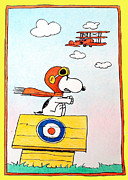 Biplane Drawings - The Red Baron by John Hudson Hawke