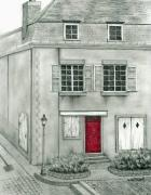 French Door Drawings Prints - The Red French Door Print by Mary Tuomi