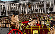 Large Crowds Of People Mixed Media Posters - The royal nude wedding Poster by Karen Elzinga