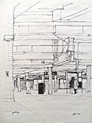 Times Square Drawings Originals - The S Shuttle by Wade Hampton