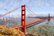 Cityscapes Digital Art Prints - The San Francisco Golden Gate Bridge . 7D14507 Print by Wingsdomain Art and Photography