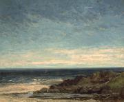 Perspective Painting Prints - The Sea Print by Gustave Courbet