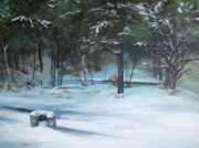 Winter Trees Painting Metal Prints - The Season Has Changed Metal Print by Chris Wing