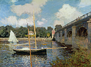 Blue Sailboat Posters - The Seine at Argenteuil Poster by Claude Monet