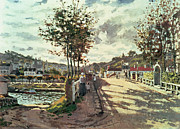 Tree-lined Metal Prints - The Seine at Bougival Metal Print by Claude Monet