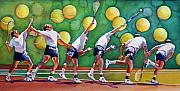 Racket Painting Framed Prints - The Serve Framed Print by Gail Zavala