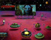 Drive In Painting Framed Prints - The Sighting At The Neptune Fly In Framed Print by Leah Saulnier The Painting Maniac