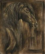 Greeting Cards Reliefs Prints - The Spirit of a Horse Print by Paula Collewijn -  The Art of Horses