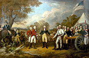 Flag Painting Framed Prints - The Surrender of General Burgoyne Framed Print by War Is Hell Store