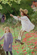 Red Flower Paintings - The Swing by Percy Tarrant
