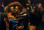 Religion Paintings - The Taking of Christ by Michelangelo Caravaggio
