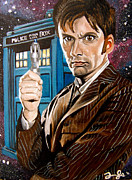 Tardis Framed Prints - The Tenth Doctor and his TARDIS Framed Print by Emily Jones