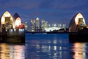 London Pier Framed Prints - The Thames Flood Barrier Framed Print by Jeremy Walker