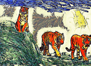 Nature Study Painting Posters - The tigers Poster by Odon Czintos