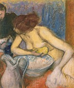 Girl Pastels Metal Prints - The Toilet Metal Print by Edgar Degas