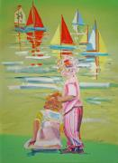 Toy Boat Mixed Media Prints - The Toy Regatta Print by Charles Stuart
