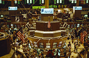 Securities Posters - The Trading Floor Of The New York Stock Poster by Justin Guariglia