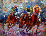 Horse Race Framed Prints - The Turn Framed Print by Debra Hurd