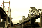 Wings Domain Art - The Two Carquinez Bridges At Crockett and Vallejo California . aka Alfred Zampa Memorial Bridge . 7D8830 by Wingsdomain Art and Photography