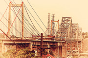 Old Postcards Prints - The Two Carquinez Bridges At Crockett and Vallejo California . aka Alfred Zampa Memorial Bridge . 7D8919 Print by Wingsdomain Art and Photography