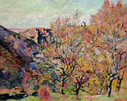 Brown Leaves Posters - The Valley of the Sedelle in Crozant Poster by Jean Baptiste Armand Guillaumin