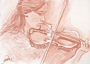 Violin Drawings Prints - The violinist Print by Horacio Prada
