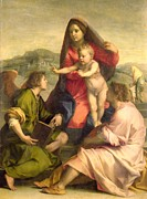 Bible Painting Posters - The Virgin and Child with a Saint and an Angel Poster by Andrea del Sarto