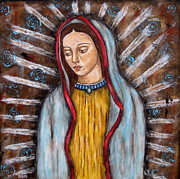 Rain Ririn  Paintings - The Virgin of Guadalupe by Rain Ririn