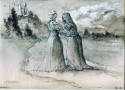 Religious Drawings Originals - The Visitation by Dan Hammer