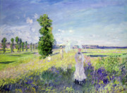 Male Posters - The Walk Poster by Claude Monet