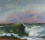 Undertow Painting Posters - The Wave Poster by Gustave Courbet