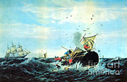 Flurry Framed Prints - The Whale Fishery, 19th Century Framed Print by Photo Researchers