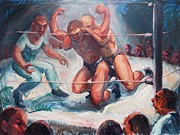 Spectators Paintings - The Wrestling Match in Color by Bill Joseph  Markowski