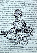 Pride And Prejudice Drawings - The Writer at Work by The Doodle Box