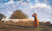 Stood Framed Prints - The Young Shepherdess Framed Print by Winslow Homer