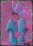 Elizabeth Matlack Paintings - The Zebra Effect by Oddball Art Co by Lizzy Love