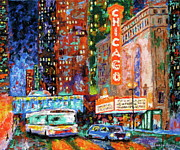 City Night Scene Paintings - Theater Night by J Loren Reedy