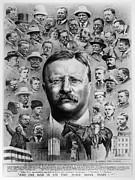 Father Drawings Prints - Theodore Roosevelt Print by Granger