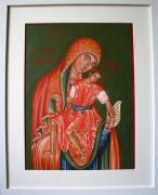 Theotokos Paintings - Theotokos with Christ by Biljana Vujaklija