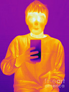 Human Being Posters - Thermogram Of A Boy Drinking Poster by Ted Kinsman
