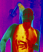 Shower Head Photo Posters - Thermogram Of A Man Taking A Shower Poster by Dr. Arthur Tucker