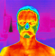 Featured Art - Thermogram Of A Mans Head And Shoulders by Dr. Arthur Tucker