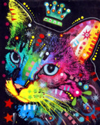Colorful Mixed Media Posters - Thinking Cat Crowned Poster by Dean Russo