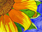 Singer Painting Originals - This Is No Subdued Sunflower by Debi Singer