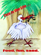 Ibis Drawings Metal Prints - This is the Life Metal Print by Carol Allen Anfinsen