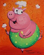 Pig Paintings - This Little Piggy Baked Cupcakes by Jennifer Alvarez