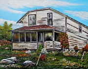 Old Fence Posts Painting Prints - This old house 2 Print by Marilyn  McNish