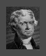 Patriots Framed Prints - THOMAS JEFFERSON in BLACK AND WHITE Framed Print by Rob Hans