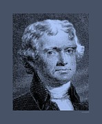 Patriots Prints - THOMAS JEFFERSON in CYAN Print by Rob Hans