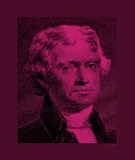 Patriots Prints - THOMAS JEFFERSON in HOT PINK Print by Rob Hans